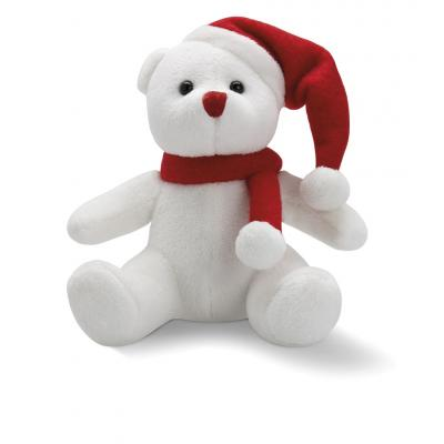 Image of Promotional Christmas Bear; Cute plush white bear with red hat and scarf