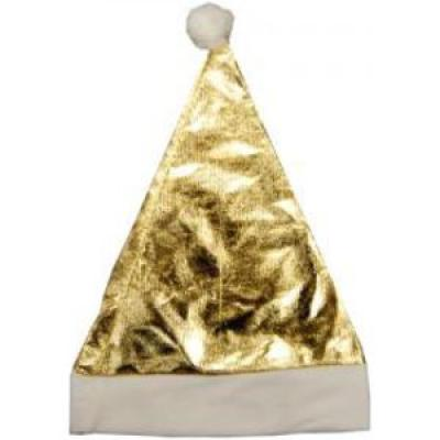 Image of PROMOTIONAL CHRISTMAS HAT - SHINY GOLD CHRISTMAS HAT BRANDED WITH YOUR LOGO