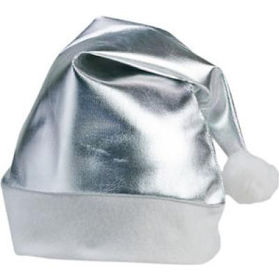 Image of SHINY SILVER BRANDED CHRISTMAS SANTA HAT WITH YOUR LOGO PRINTED