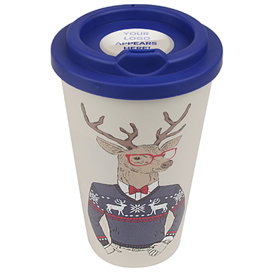 Image of Branded Christmas Themes Americano style Mug with reindeer design.