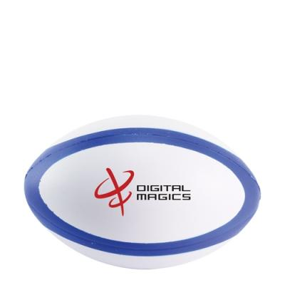 Image of Promotional Mini rugby Stress Balls Printed ( White and Blue ) dual colour