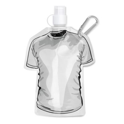 Image of Promotional Foldable  bottle in T-shirt shape with carabiner. Printed folding Bottle.
