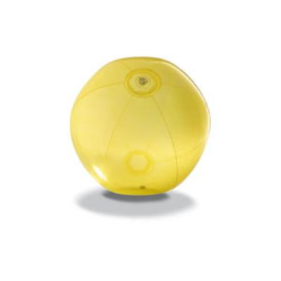 Image of Printed Beach Ball.Inflatable Transparent Summer Beach Ball. Yellow.