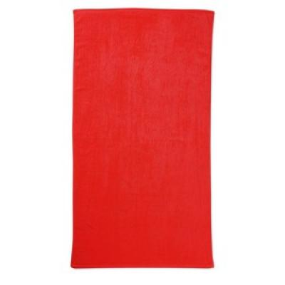 Image of Promotional Beach Towel. Embroidered Beach Towel Available In A Variety Of Bright Colours. Red