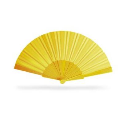 Image of Promotional Hand Held Fan. Printed Hand Held Fan. Yellow