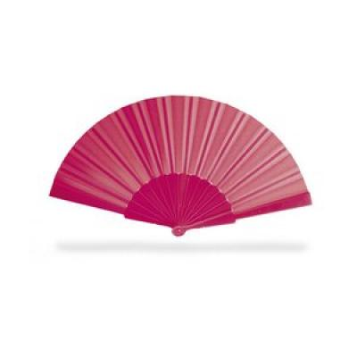 Image of Promotional Fan. Printed  Hand Held Manual Summer Fan. Available In A Variety Of Bright Colours. Fuchsia Pink.