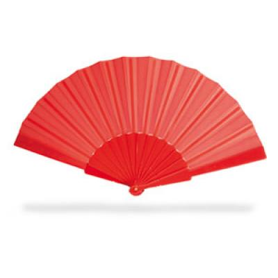 Image of Promotional Fan. Printed Manual Hand Held Expandable Fan. Red