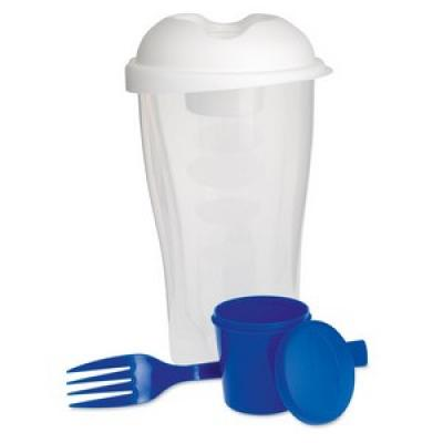 Image of Promotional Salad Shaker. Printed Salad Shaker With Fork And Dressing Container.Blue.  Healthy Summer Meal On The Go.