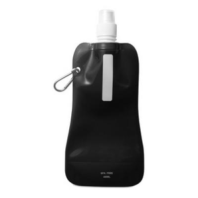 Image of  Printed Water Bottle. Promotional Foldable Water Bottle With Aluminium Carabiner Clip. BPA Free. Black Foldable Water Bottle.