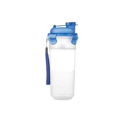 Image of Promotional Protein Shaker. Printed Protein Shaker  With Handy Strap. Blue Protein Shaker.