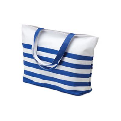 Image of Printed Nautical Strip Beach Bag.Promotional Blue And White Beach Bag. Variety Of Colours Available.
