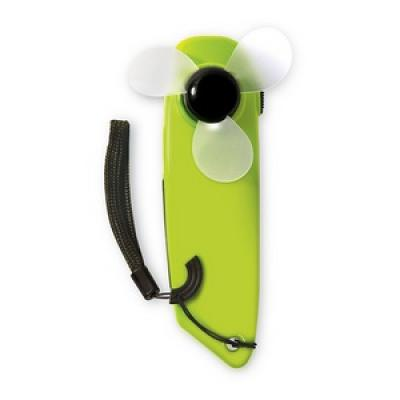 Image of Promotional Hand Held Fan With LED Torch And Hand Strap. Printed Green Fan.