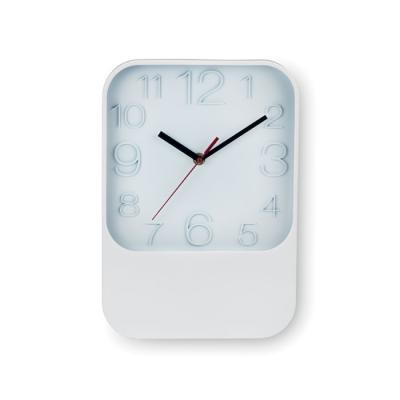 Image of Promotional Rectangular Wall Clock In White. Printed Wall Clock. Express Service Available.