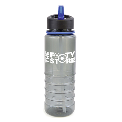 Image of Promotional Resaca Water Bottle. Printed Water Bottle Translucent Black With Blue Rim And Mouthpiece