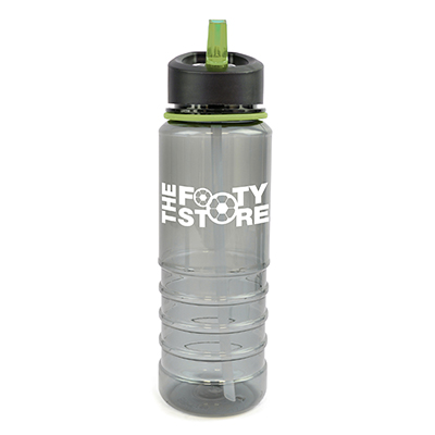 Image of Promotional Resaca Water Bottle. Printed Translucent Black Water Bottle With A Green Rim And Mouthpiece