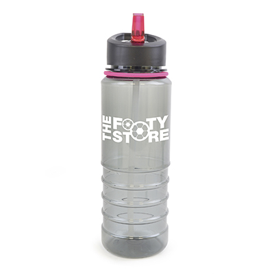 Image of Promotional Resaca Water Bottle. Printed Translucent Black Water Bottle With A Pink Rim And Mouthpiece