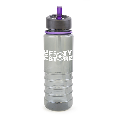 Image of Promotional Resaca Water Bottle. Printed Translucent Black Water Bottle With A Purple Rim And Mouthpiece