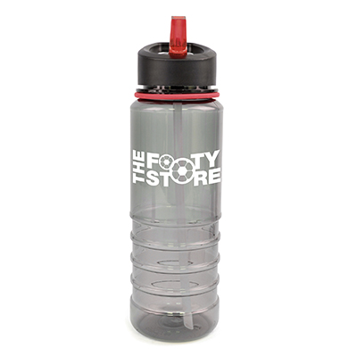 Image of Promotional Resaca Water Bottle. Printed Translucent Black Sports Bottle With A Red Rim And Mouthpiece