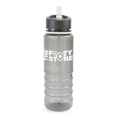 Image of Promotional Resaca Water Bottle. Printed Translucent Black Water Bottle With A White Rim And Mouthpiece
