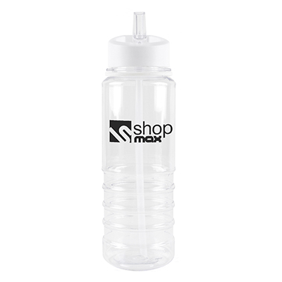 Image of Promotional Bowe Water Bottle. Printed Translucent Water Bottle With A White Rim And Mouthpiece.