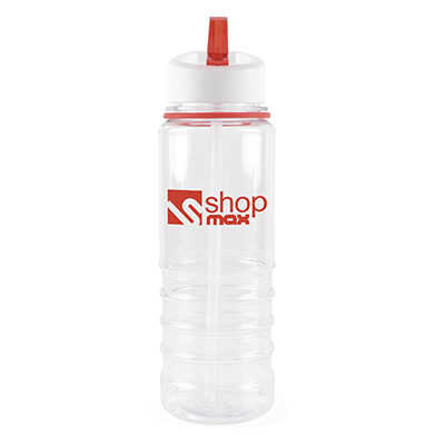 Image of Promotional Bowe Water Bottle. Printed Translucent Sports Bottle With A Red Rim And Mouthpiece.Express Service Available.