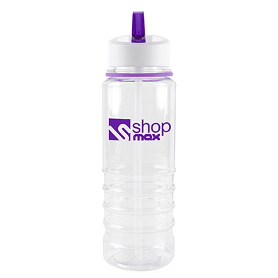 Image of Promotional Bowe Water Bottle. Printed Translucent Sports Bottle With A Purple Rim And Mouthpiece.Express Service Available.