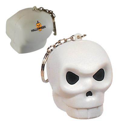 Image of Promotional Halloween Stress Key ring. Printed Skull Keyring. Stress Ball Skull Keyring