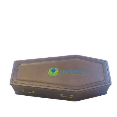 Image of Promotional Halloween Stress Coffin. Printed Stress Ball in The Shape Of A Coffin.