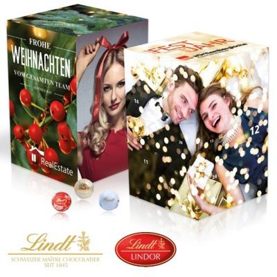 Image of Lindt extra large cube advent calendar. Promotional Lindor Chocolate Advent Calendar.