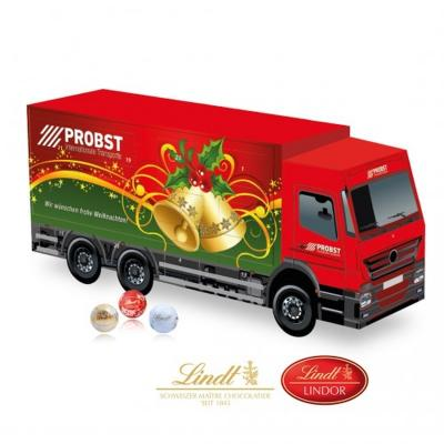 Image of Promotional Lindt 3D truck shaped advent calendar. Printed Lorry Shaped Chocolate Calendar.