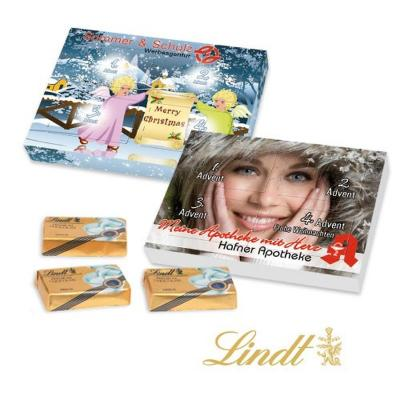 Image of Lindt super mini personalised advent calendar. Printed super mini personalised chocolate advent calendar.