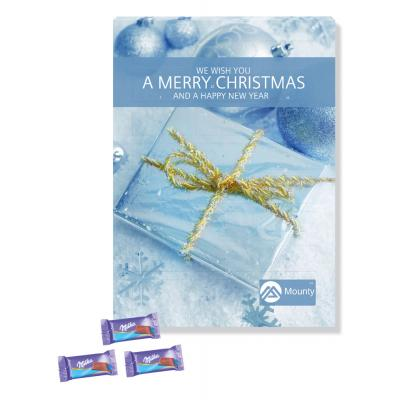 Image of Personalised A4+ Advent Milka Chocolate Wall Calendar. Promotional Milka Chocolate Advent Calendar
