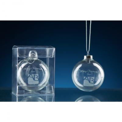 Image of Engraved Christmas Glass Bauble Supplied in a Clear Gift Box
