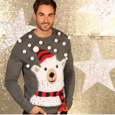 Image of Promotional 3D Polar Bear Knitted Jumper With Pom. Branded Christmas Jumper.