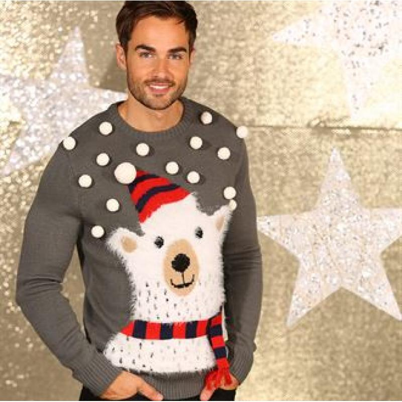 Promotional 3d Polar Bear Knitted Jumper With Pom Branded Christmas