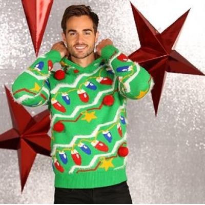 Image of Branded Christmas Tree Jumper With Pom Pom. Fun Novelty Xmas Jumper