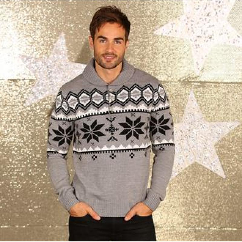 Branded Men s Shawl Collar Knitted Jumper. Christmas Fair Isle Jumper bd4dde8b89ca1