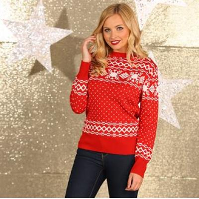 Image of Promotional Ladies Red  Fair Isle Jumper. Branded Christmas Jumper.