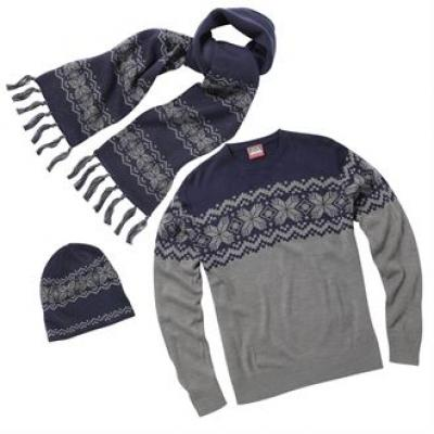 Image of Traditional Christmas knitted jumper, hat and scarf set. Fair Isle Xmas Jumper