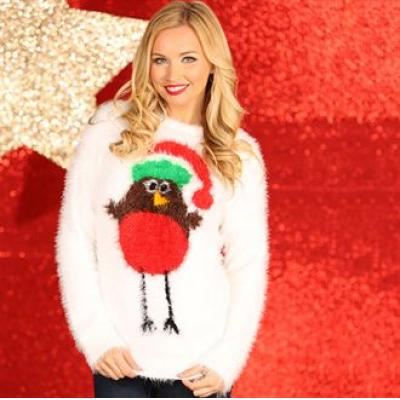 Image of Branded Women's Robin Eyelash Yarn Knitted Jumper. Ladies Christmas Jumper