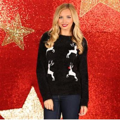 Image of Promotional Ladies Reindeer Jumper. Branded Ladies Xmas Jumper