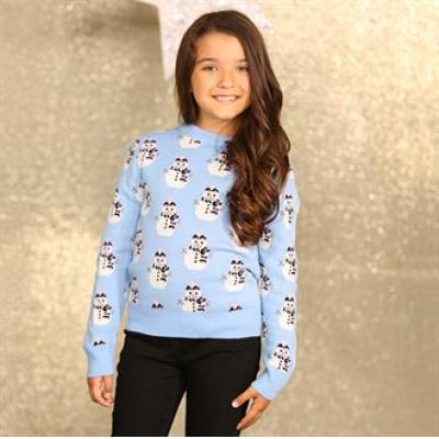 Image of Promotional Girl's Snowman Jumper. Knitted Girls's Christmas Jumper.