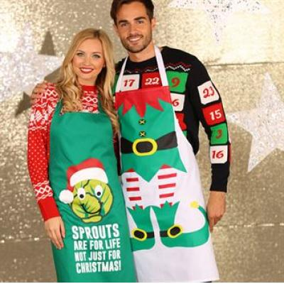 Image of Printed Santa's Little Helper Apron. Branded Christmas Apron.