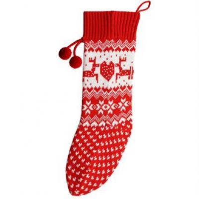 Image of Promotional Red Reindeer Knitted Stocking. Branded Christmas Stocking.