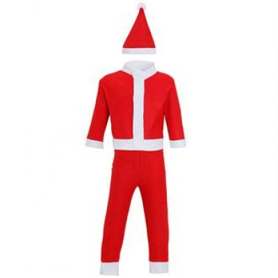 Image of Printed Child's Santa Suite. Promotional Kid's 3 Piece Father Christmas Outfit