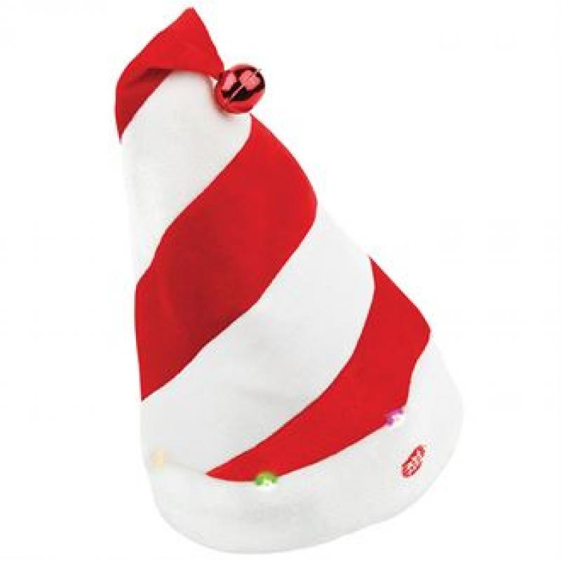 17d8e710af Branded Musical Santa Hat With Lights. Promotional Striped Father Christmas  Hat