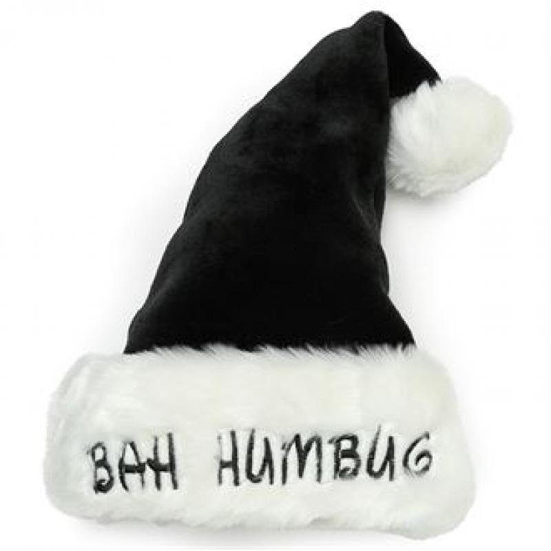 6acc16e3e051e Branded Bah Humbug Santa Hat. Promotional Plush Black Santa Hat ...