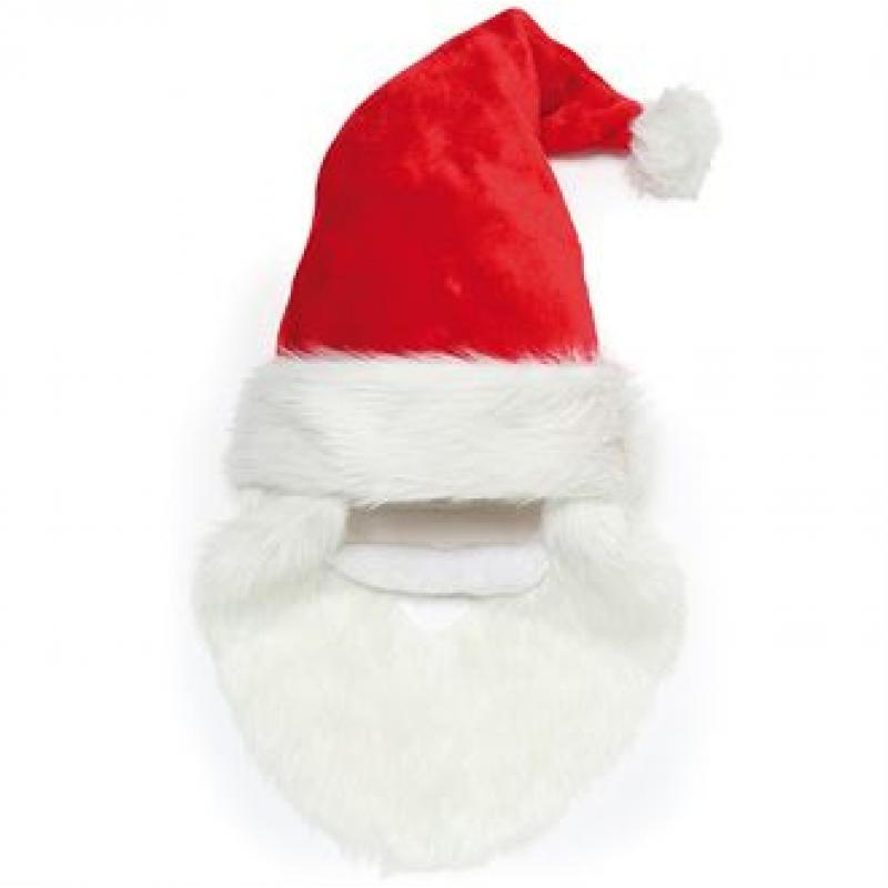 a0293d4d331 Promotional Santa Hat With Beard and Moustache. Plush Father Christmas Hat
