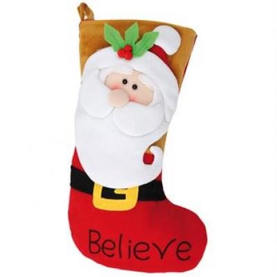 Image of Promotional Santa Stocking. Printed 3D Father Christmas Stocking.