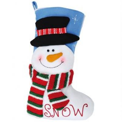 Image of Branded Snowman Stocking. Promotional 3D Plush Stocking